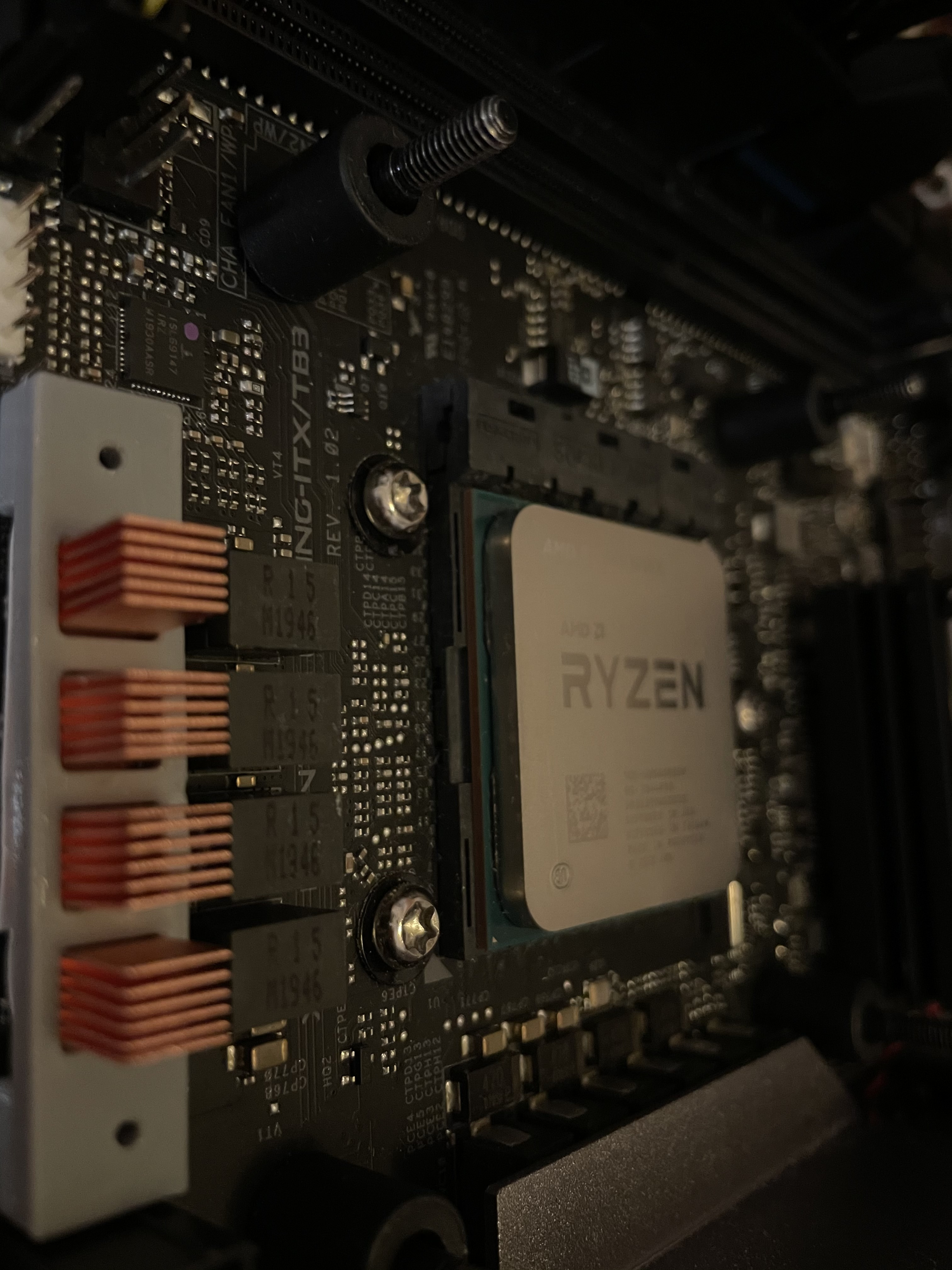 photo of heatsink mount with cpu out of focus